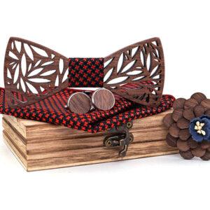 Dřevěný motýlek: Dárkový set s broží